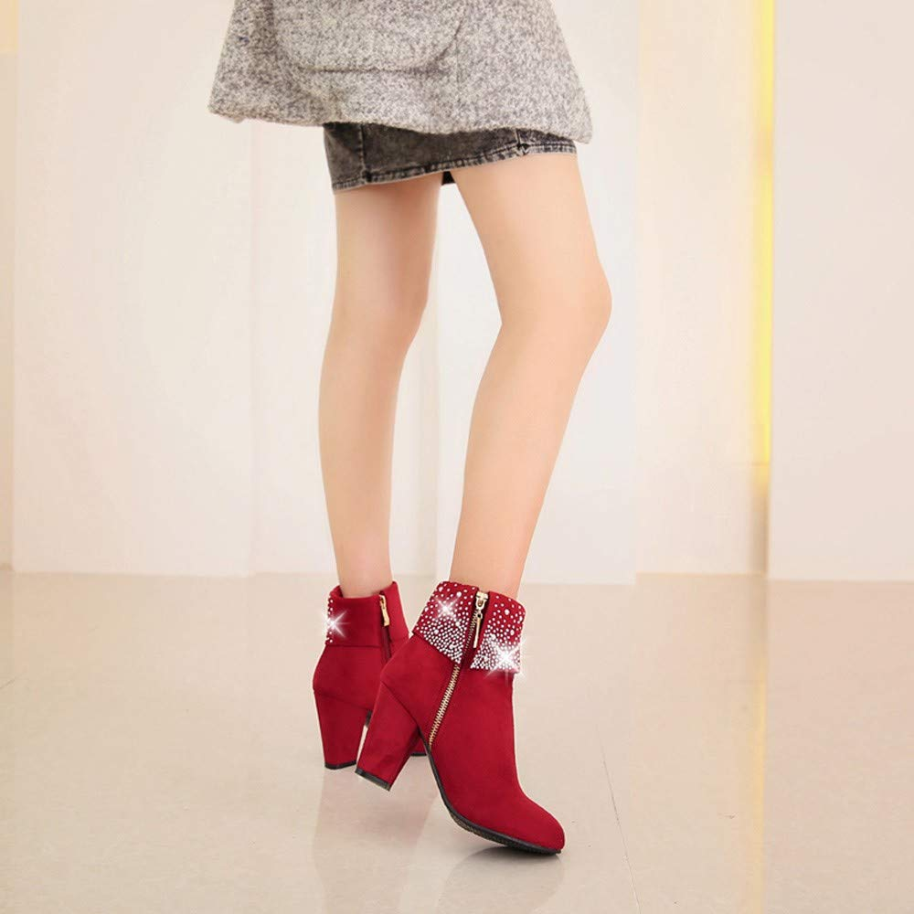 015d10a490c85 Moko-PP Women Crystal Thick Square Flock Ankle Zipper Warm Boots US ...