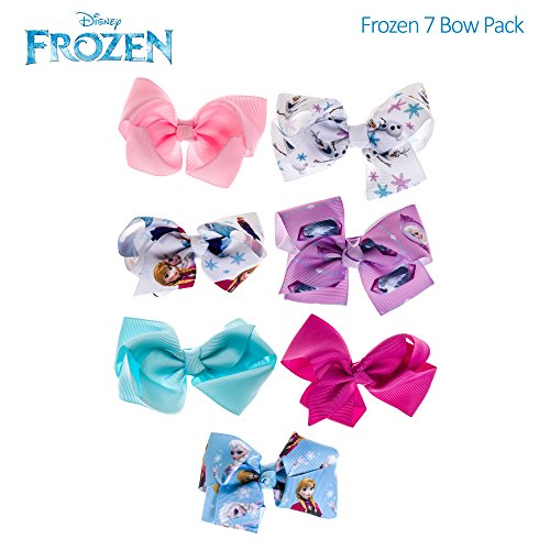 [Disney Frozen Anna Elsa Girls Bow A Day Hair Accessories Set 7PK Blue White Pink] (Baby Anna Costumes Frozen)