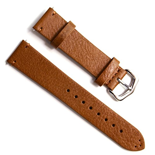22mm Handmade Vintage Cowhide Leather Watch Strap/Watch Band Oil Wax Leather Simple Style Brown