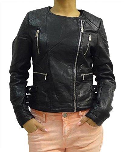 Señoras de las mujeres cerrar la cremallera de cuero de la PU Negro de cuello redondo Chaqueta de motorista tamaño 8 10 12 14