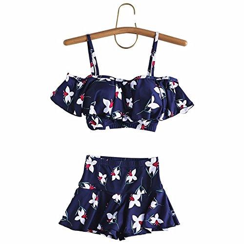 Trajes de baño mujer pequeñas partículas de pecho negro conservadora dividida la pobreza video skinny Heung-falda estilo traje de baño Traje azul