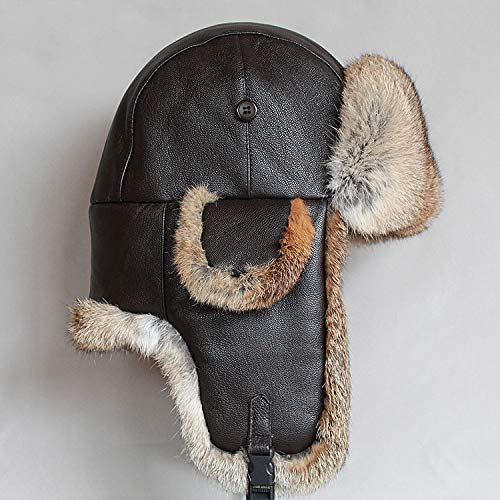 Bombardero Invierno hombre Trapper Brown Gorro Esquí Aviador Olis Sombrero Cuero qX0gg