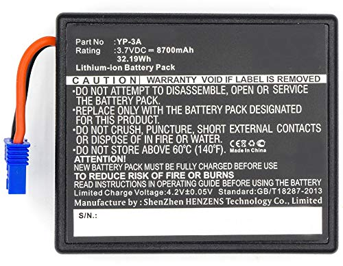Synergy Digital Battery Compatible YUNEEC YP-3A Replacement Battery (Li-Ion, 3.7V, 8700 mAh) - Repl. YUNEEC YP-3A Battery ()