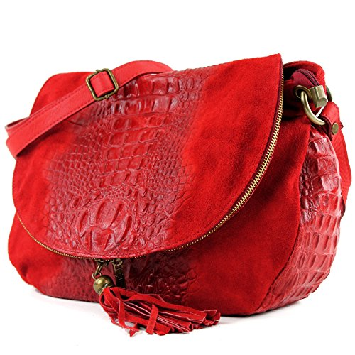 modamoda de - ital. Bolsa para mujer, de hombro, para piel ante/cocodrilo T68 Rot Wildleder/Kroko