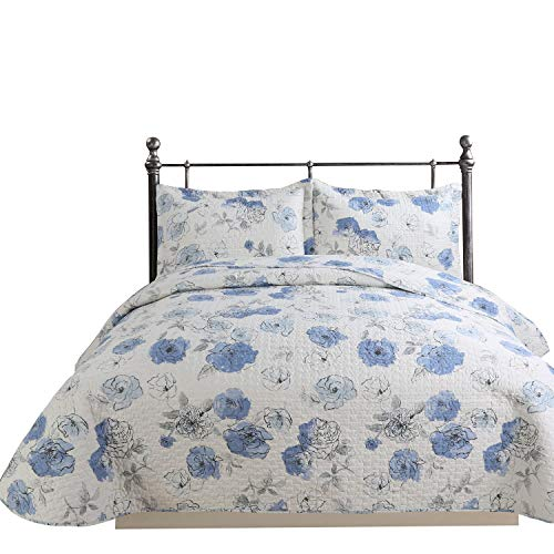 Hilin Fashion Microfiber Reversible Printing Quilt Set Queen Size with Shams,as Bedspread,Coverlet -Soft,Lightweight and Hypoallergenic (Denia BLU, - Blue Floral Quilt