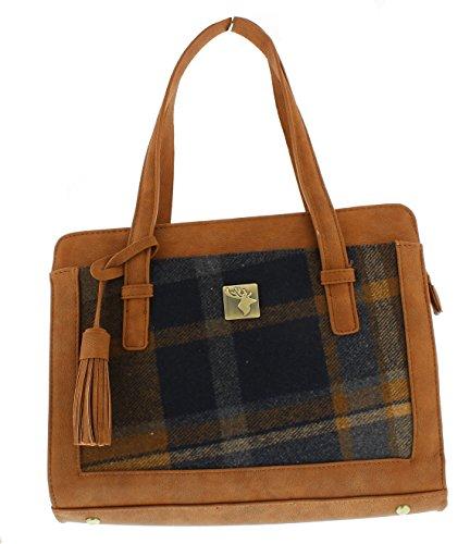 'House of Tweed' Tassel Handbag Brown Tweed