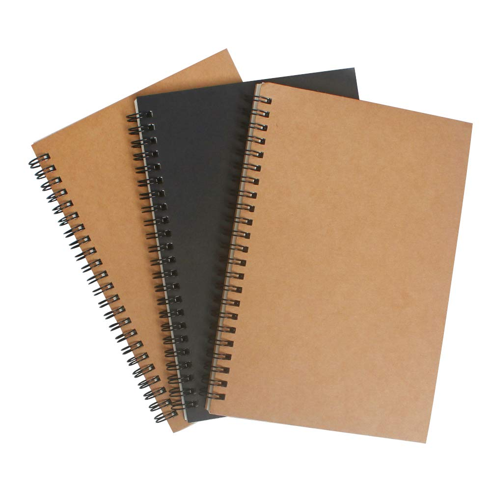 Spiral Notebook Sketch Book with Blank Page 3 Packs Kraft Cover Notebooks 50 Sheets / 100 Pages Unlined White Paper 5'' x 8.3'' - Brown + Black