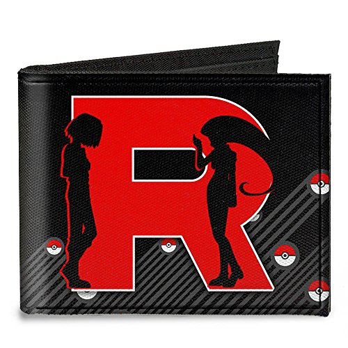 [해외]버클 다운 캔버스 2 중 지갑 - Team Rocket r / james & amp; /Buckle-Down Canvas Bi-fold Wallet - Team Rocket  r /james & Jessie Silho Accessory