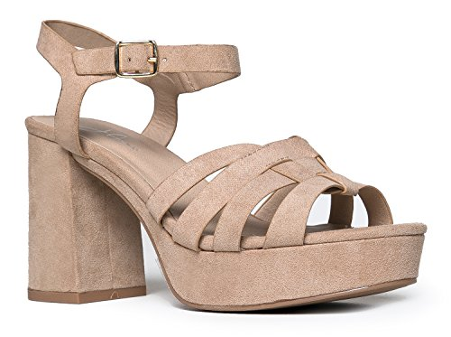 J. Adams Womens Platform Ankle Strap Low Heel - Chunky Open Toe Shoe Casual Basic Block Sandal - Taffy - Platform Chunky Shoe Casual Heel