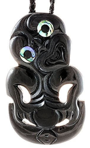 Earthbound Pacific Stylized Maori Black Horn HEI Tiki Necklace with New Zealand Paua Shell - Necklace Shell Zealand Paua New