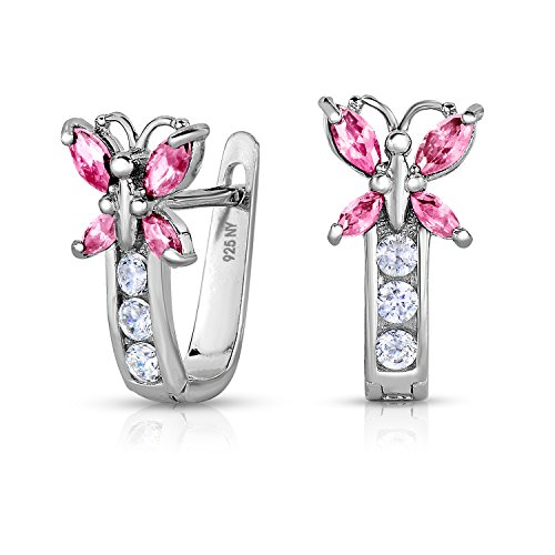 Girls 925 Sterling Silver Butterfly Huggie Earrings with October Simulated Tourmaline Birthstone and Cubic Zirconia (October)