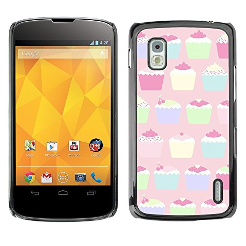 All Phone Most Case / Hard PC Metal piece Shell Slim Cover Protective Case for LG Google Nexus 4 E960 cupcake muffin pastel paining colorful