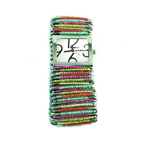 (PlanetZia Stretch Safety Pin Watch with Tropical Color Mix Beads WT-TROP)