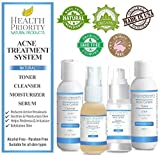 Natural & Organic Proactive Acne Treatment System + Apple Cider Vinegar & Vitamin E for adults & teens. Best face cleanser, toner, serum, moisturizer for all adult & teen acne prone skin. Wash & get