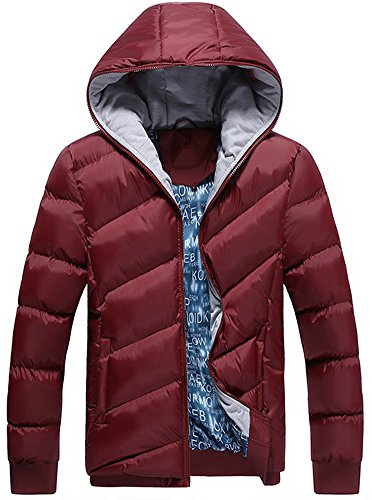 Fashion Mens Winter Feather Coat Thick With Hat Style Cotton-padded Jacket Wine Red US S - Korea Winter Coat