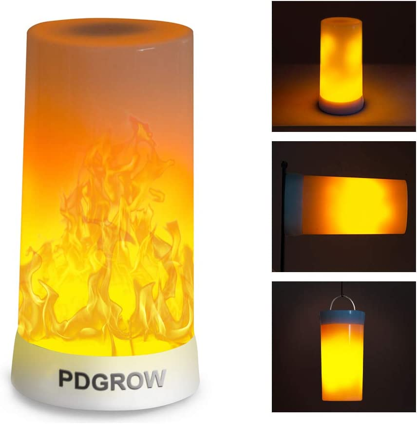 PDGROW LED Flame Light, Indoor Outdoor LED Flame Effect Light with Upside Down Effect, Rechargeable Flame Lamp Decorative Lights Night Lights for Home Party Camping Hotel Bar