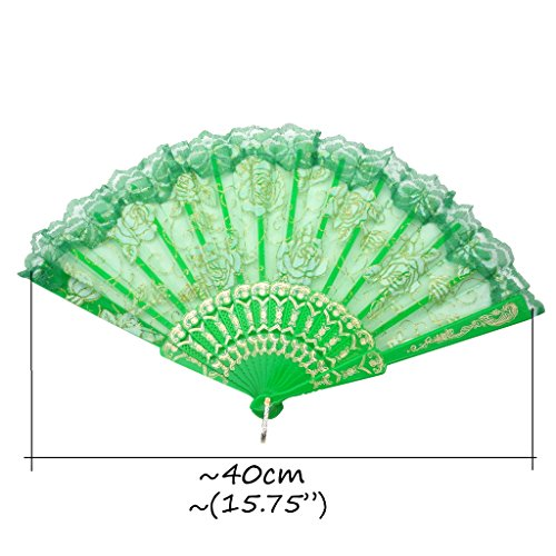 TrendBox Elegant Vintage Retro Flower Rose Lace Handheld Chinese Folding Fan For Dancing Ball Parties Ladies - Deep Blue