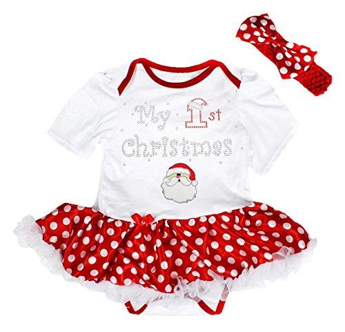 My 1st Christmas Baby Dress Santa Claus Red Bodysuit Polka Dots Tutu Set Nb-18m (0-3month)]()