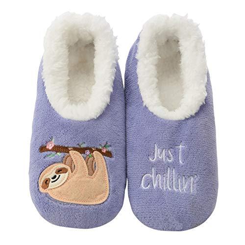 Snoozies Womens Classic Splitz Applique Slipper Socks | Sloth/Just Chillin' | X-Large