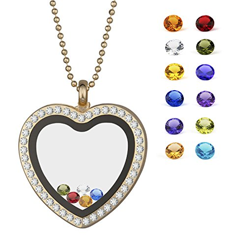 EBOETA Pendant Necklace Floating Birthstone