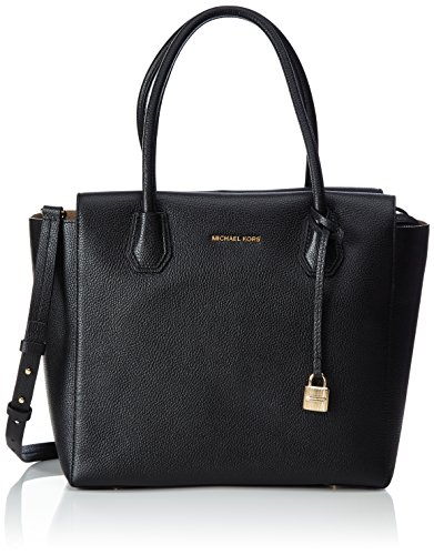 Michael Kors Studio Mercer Large Leather Satchel (Black) by MICHAEL Michael Kors