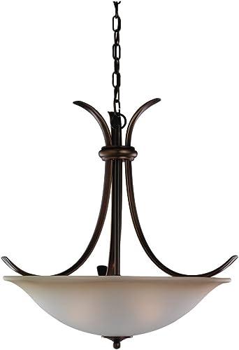 Sea Gull Lighting 65361-829 Three-Light Rialto Pendant, Ginger Glass Shade, Russet Bronze