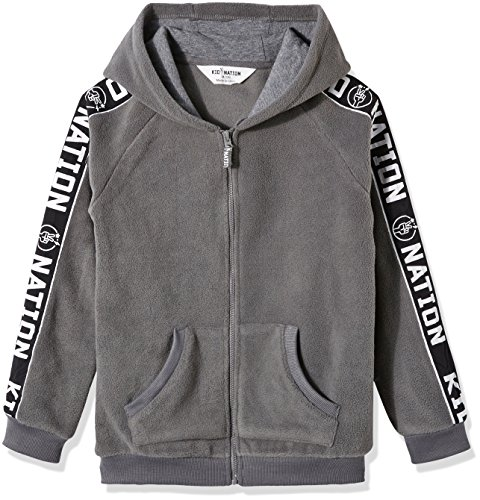 Price comparison product image Kid Nation Kids' Micro Fleece Zip Hoodie for Boys or Girls M Gray