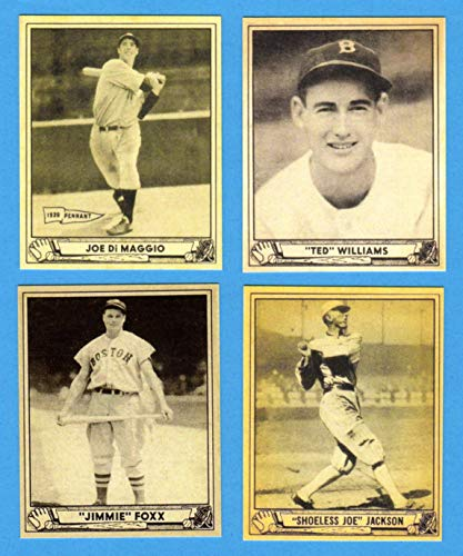 1940 Play Ball (4) Card Reprint Lot featuring**Joe DiMaggio, Ted Williams,