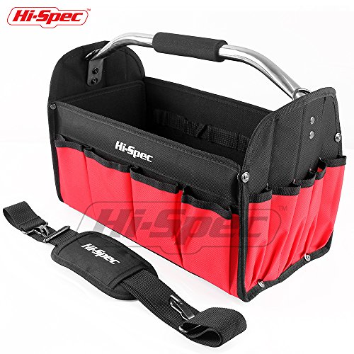 Hi-Spec Heavy Duty Collapsible Open Top Tool Tote Bag with Waterproof Base, 17 Interior/Exterior Tool Slots, Shoulder Strap, Steel Handle, 600D Reinforced Material Technician Mechanic Tool Storage by Hi-Spec Tools