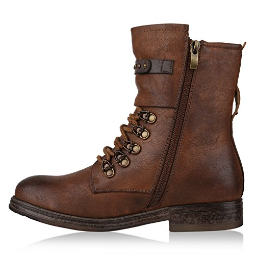 Damen Stiefeletten Lack Worker Boots Schnürstiefel Zipper Flandell Braun Brookyln