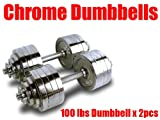 Cheap New Pair 200 lbs Adjustable Chrome Dumbbells Weight Set 100 lbs Dumbbell x 2pcs