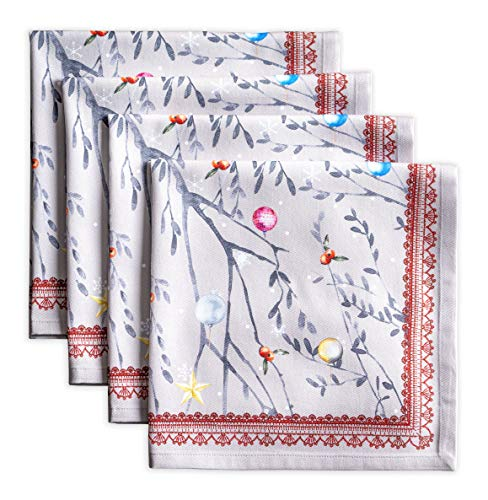 Maison d Hermine Fairy Christmas 100% Cotton Set of 4 Napkins 20 Inch by 20 Inch.