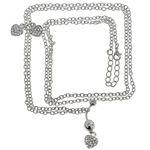 - Oasis Plus 14G Clear Crystal Heart Belly Button Ring Dance Waist Chain Belt Body Piercing Jewelry