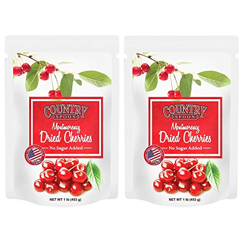 No Sugar Added Dried Tart Montmorency Cherries by Country Spoon (1 lb  2  Pack)