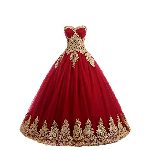 LMBRIDAL Women's Appliqued Quinceanera Dress Sweetheart Birthday Ball Gown Red 6