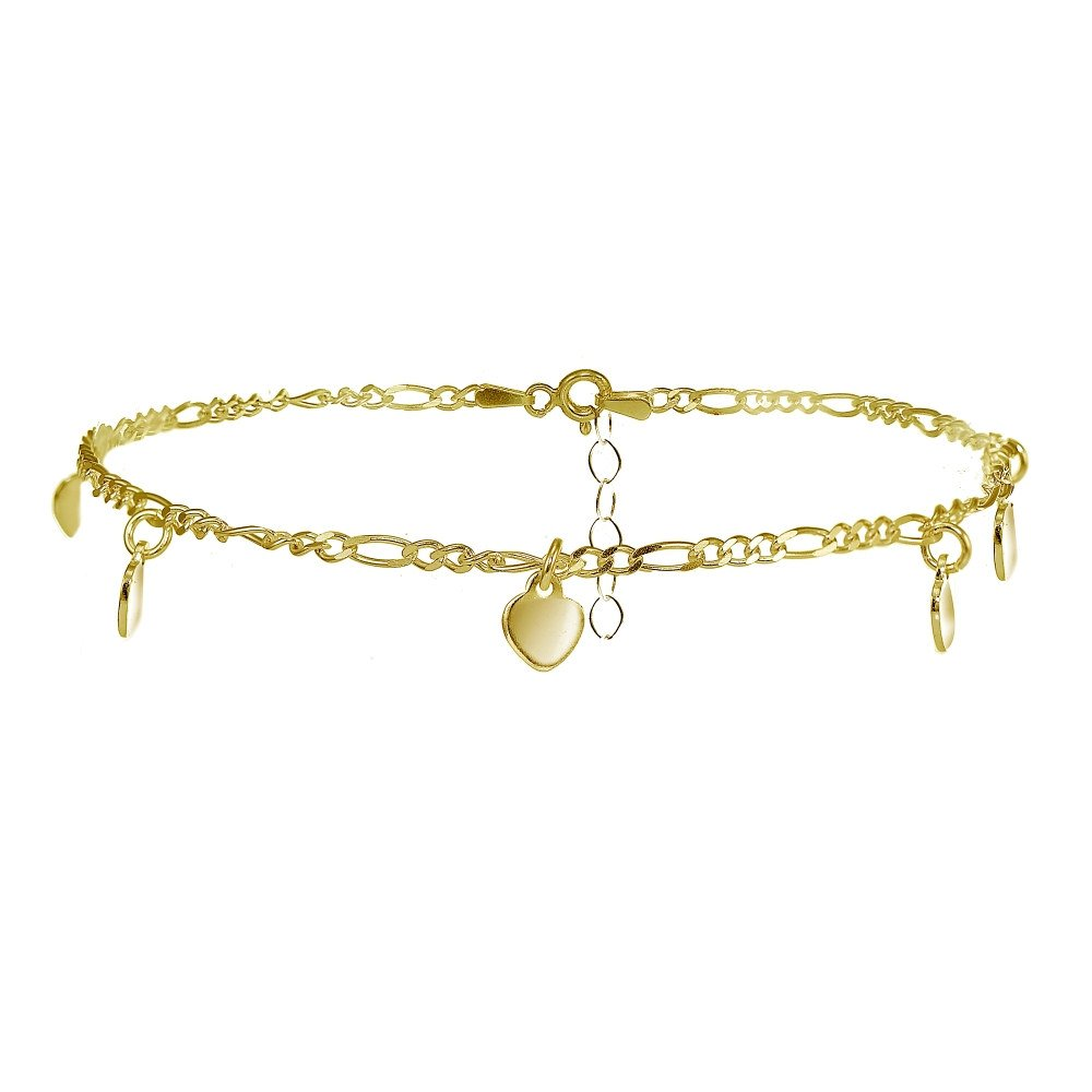 Yellow Gold Flashed Sterling Silver Figaro Chain Anklet with Dangling Heart Charms
