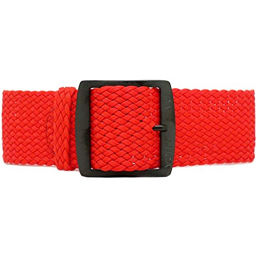 DaLuca Braided Nylon Perlon Watch Strap - Red (PVD Buckle) : 20mm