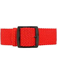DaLuca Braided Nylon Perlon Watch Strap - Red (PVD Buckle) : 22mm