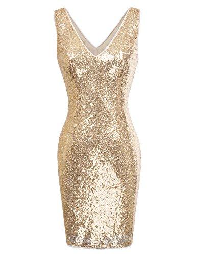 920s V Neck Full Sequined Bodycon Mini Flapper Club Dress XL KK1069-4 ()