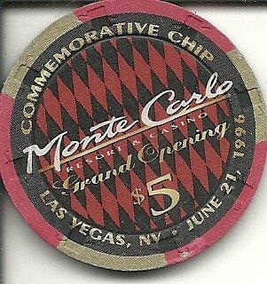 Old Obsolete Las Vegas Casino ($5 monte carlo grand opening limited casino las vegas casino chip)