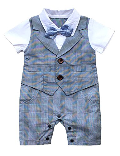 Baby Romper Suits (HeMa Island HMD Baby Boy Gentleman White Shirt Bowtie Tuxedo Onesie Jumpsuit Overall Romper with Blue Waistcoat (Grey, 0-3 M))