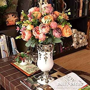 BeesClover Classical European Oil Painting Peony Silk Flowers Export Peonies Buds Artificial Anemones Bouquets for Decoration Blue 47