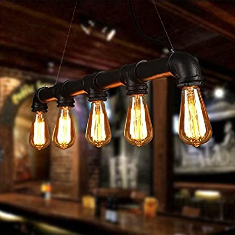 Unimall Industrial Lámpara Colgante de Techo Iluminación con 5 Portalámparas Luces Pendientes Estilo Antiguo de Tubería para Café Bar Restaurante ...