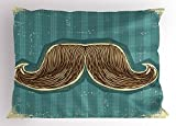 Lunarable Mustache Pillow Sham, Hand Drawn Illustration of Curvy Edged Bushy Mexican Moustache, Decorative Standard King Size Printed Pillowcase, 36 X 20 inches, Pale Blue Ivory and Brown