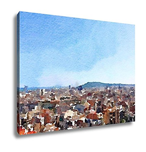 Ashley Canvas Digital Watercolor Painting Of The Skyline In Barcelona Spain Showing Tall, Wall Art Home Decor, Ready to Hang, Color, 16x20, AG6251206 by Ashley Canvas