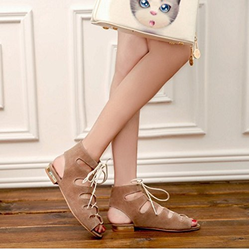 COOLCEPT Mujer Moda Cordones Sandalias Hueco Slingback Comodo Tacon bajo Gladiator Zapatos Khaki