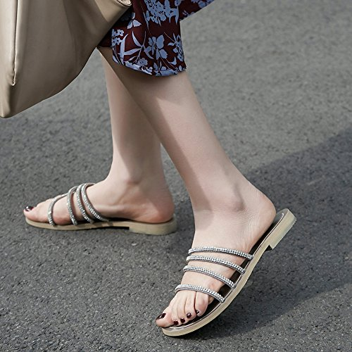 Jamron Women's Shining Rhinestones Strappy Genuine Leather Sandals Flat Summer Slide Slippers Grey 2MPkz