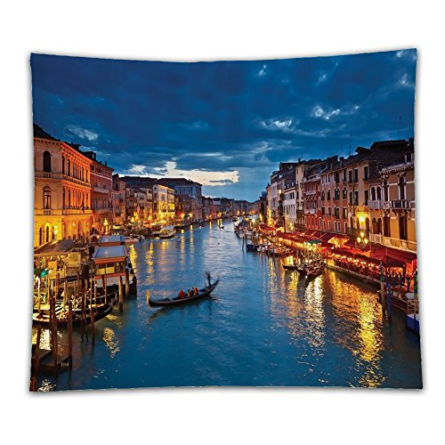 Beshowereb Fleece Throw Blanket Venice Deor Venice City Beach Scenes Architecture of Italy Night Picture Artwork Prints Polyester - San South Shopping Francisco