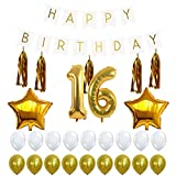 16th BIRTHDAY PARTY DECORATIONS KIT - Happy Birthday Banner Sign, Number 16 ...