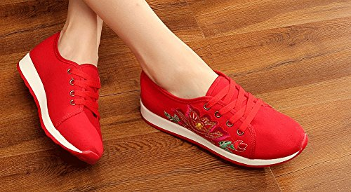 Avacostume Womens Simple Embroidery Walking Platte Sneakers Rood